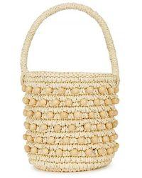 Sensi Studio Mini Bucket Bag W/ Wooden Beads - Natural
