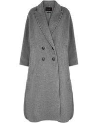 Isabel Marant Felliot Gray Double-breasted Wool-blend Coat