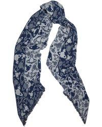 Vivienne Westwood Navy Orb-intarsia Wool-blend Scarf - Blue