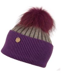 Popski London Vibrant Violet - Charcoal Grey Angora Fur Pom Pom Hat - Purple