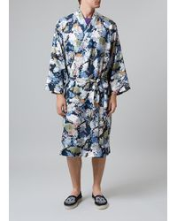 Meng Men S Multicolour Printed Silk Twill Dressing Gown - Blue