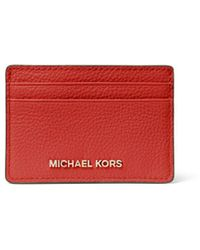 MICHAEL Michael Kors Pebbled Leather Card Case - Red