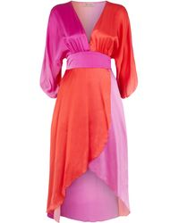 Traffic People Muse And Bemuse Asymmetric V-neck Midi Dress In Red And Purple - Multicolour