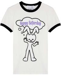 Natasha Zinko Happy Saturday White Stretch-cotton T-shirt