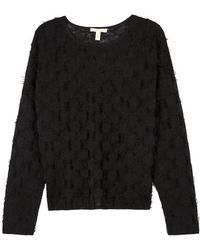 Eileen Fisher - Black Frayed Fine-knit Jumper - Lyst