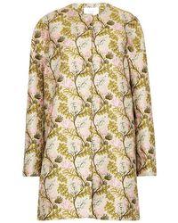 Giambattista Valli - Blush Floral-jacquard Satin Coat - Lyst