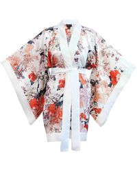 Meng Womens White Red Floral Silk Satin Unlined Short Kimono