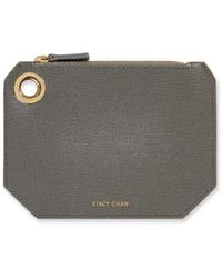 Stacy Chan London Small Ava Pouch In Grey Saffiano Leather