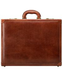 Maxwell Scott Bags Finely Crafted Tan Brown Leather Attache Briefcase For Men