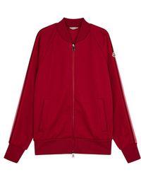 Moncler - Dark Red Striped Jersey Sweatshirt - Lyst