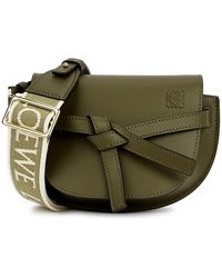 Loewe Gate Dual Mini Green Leather Cross-body Bag