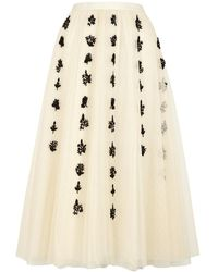 RED Valentino Ivory Embroidered Point D'esprit Midi Skirt - Natural