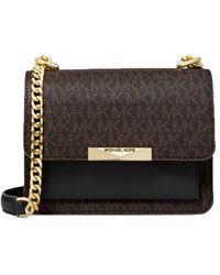 MICHAEL Michael Kors Jade Extra-small Logo And Leather Crossbody Bag - Brown