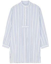 The Sleep Shirt Striped Cotton-seersucker Nightdress - Blue