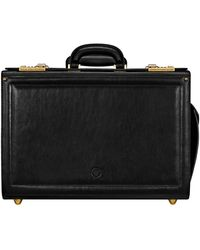 Maxwell Scott Bags Maxwell Scott Luxury Leather Briefcase On Wheels - Black