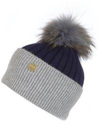 Popski London Angora Pom Pom Hat - French Navy-whisper Grey - Gray