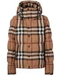 Burberry Detachable Sleeve Check Cotton Hooded Puffer Jacket - Brown