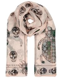 Off-White Skinny Silk Chiffon Sequin Scarf by Royal Silk
