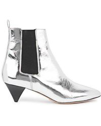 Isabel Marant Dawell Silver Leather Ankle Boots - Metallic