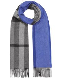 ad5f8c23081 Colour Block Check Cashmere Scarf - Blue