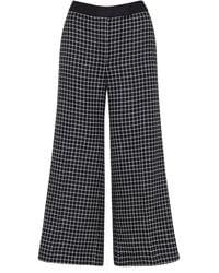 Amanda Wakeley Check Wide Culotte Check Tailoring Black Multi
