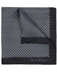 Ferragamo - Black Printed Silk Pocket Square - Lyst