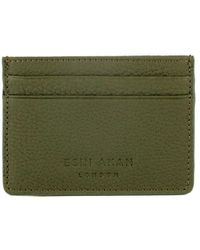 Esin Akan Grace Grainy Leather Card Case Green