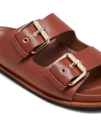 Jigsaw Ivy Leather Footbed Slider - Brown