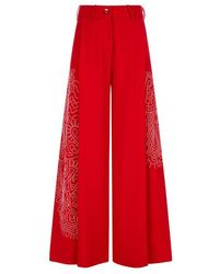Varana - Red Embroidered Wide-leg Trousers - Lyst