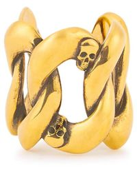 Alexander McQueen Skull-embellished Gold-tone Chain Ring - Metallic