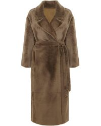 Gushlow & Cole Oversized Shearling Trench Coat - Natural