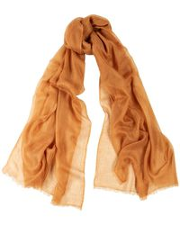 Denis Colomb Feather Toosh Rust Fine-knit Cashmere Scarf - Brown