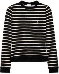 Saint Laurent Monochrome Striped Stretch-chenille Top - Black