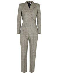 Alexander McQueen Checked Stretch-wool Jumpsuit - Black