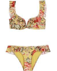 Zimmermann - Melody Printed Ruffle-trimmed Bikini - Lyst
