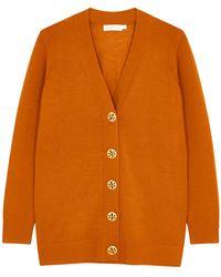 Tory Burch Orange Merino Wool Cardigan