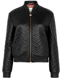 Gucci - Black Matelassé Leather Bomber Jacket - Lyst