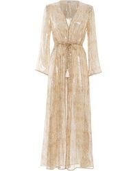 Paolita Dorado Silk Long Sleeve Kimono - Metallic