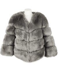 Popski London Faux Fur Kensington Jacket - Grey