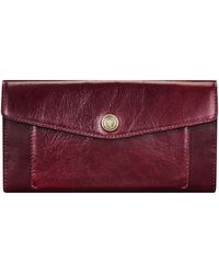 Maxwell Scott Bags Womens Quality Italian Leather Large Envelope Purse In Dark Brown - Multicolour