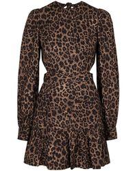 Rebecca Vallance - Yasi Leopard-print Linen-blend Mini Dress - Lyst