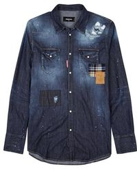 DSquared² - Blue Distressed Denim Shirt - Lyst