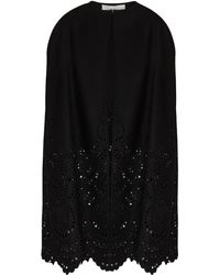 Valentino Black Eyelet-embroidered Wool-blend Cape