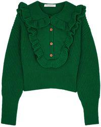 Philosophy Di Lorenzo Serafini - Green Ruffle-trimmed Wool Jumper - Lyst