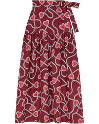 Chinti & Parker Anni Heart Skirt - Red