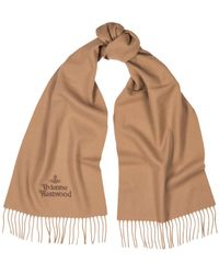 Vivienne Westwood Camel Logo-embroidered Wool Scarf - Natural
