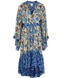 MISA Los Angles Octavia Floral-print Chiffon Midi Dress - Blue