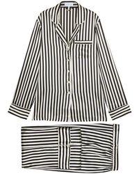 Olivia Von Halle - Lila Striped Silk-satin Pyjama Set - Lyst