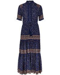 Free People Rare Feeling Floral-print Gauze Midi Dress - Blue