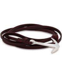 Miansai - Burgundy Anchor Leather Wrap Bracelet - Lyst